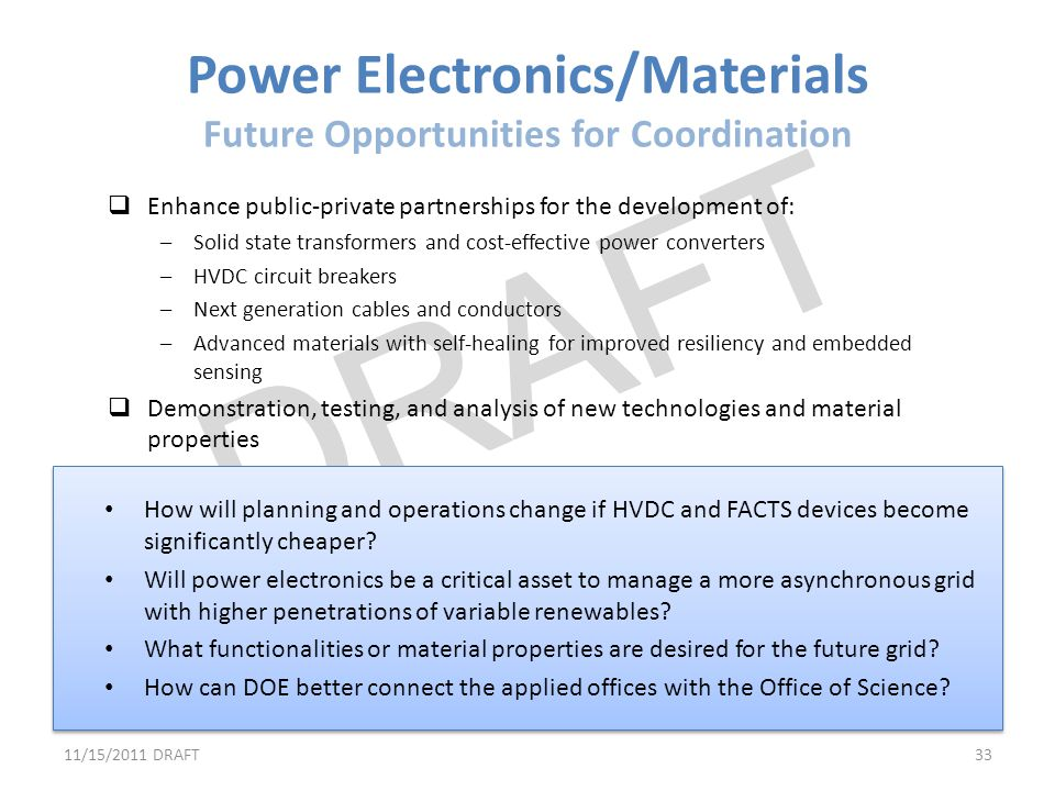 Power Electronics/Materials Future Opportunities for Coordination
