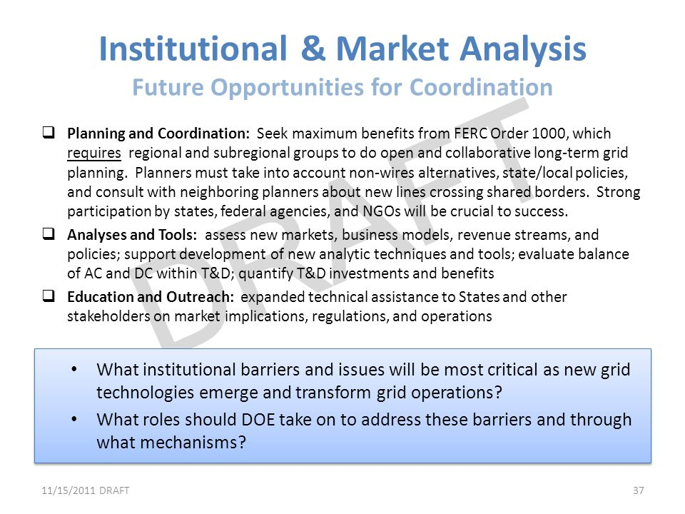 Institutional & Market Analysis Future Opportunities for Coordination