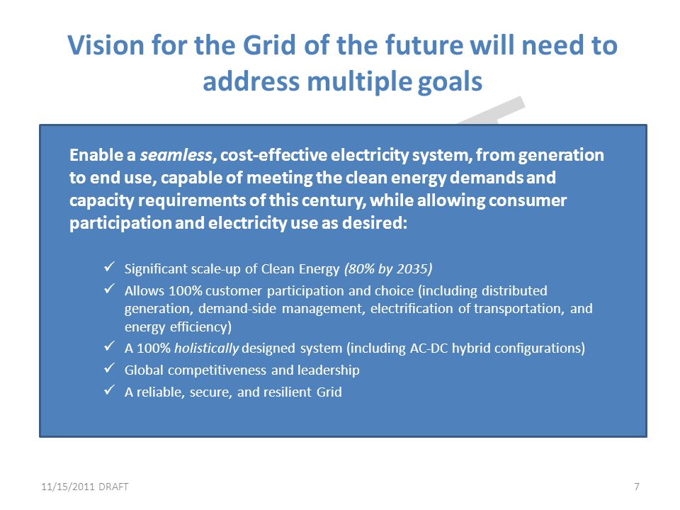 Vision for the Grid of the future will need to address multiple goals