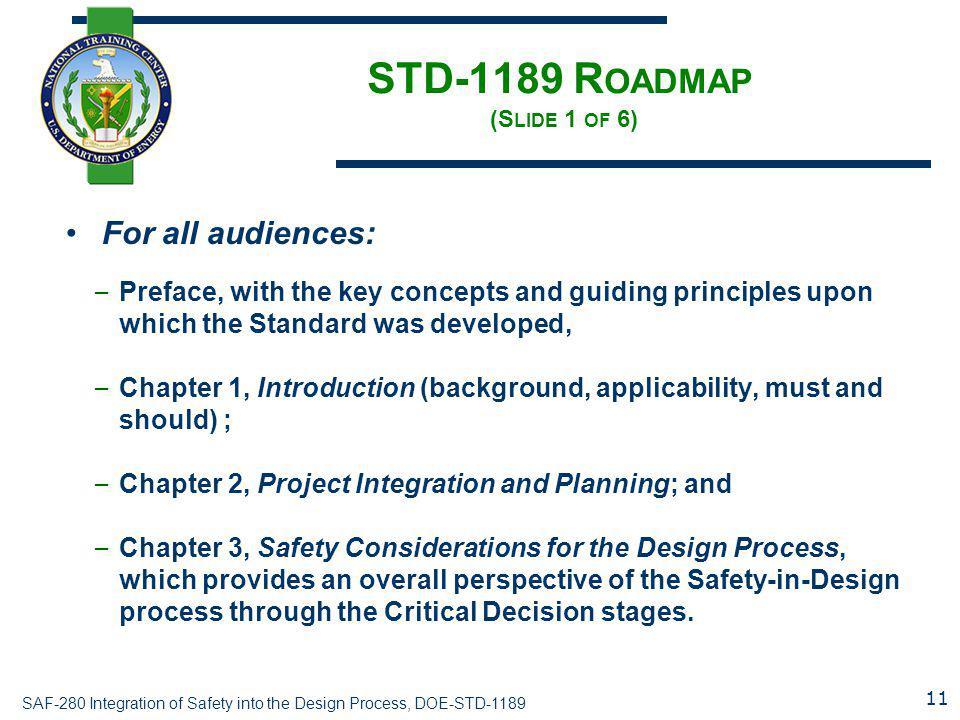 STD-1189 Roadmap (Slide 1 of 6)