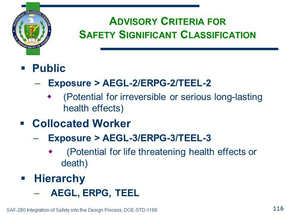 Advisory Criteria for Safety Significant Classification