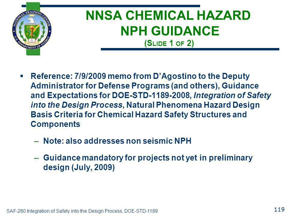 NNSA CHEMICAL HAZARD NPH GUIDANCE (Slide 1 of 2)