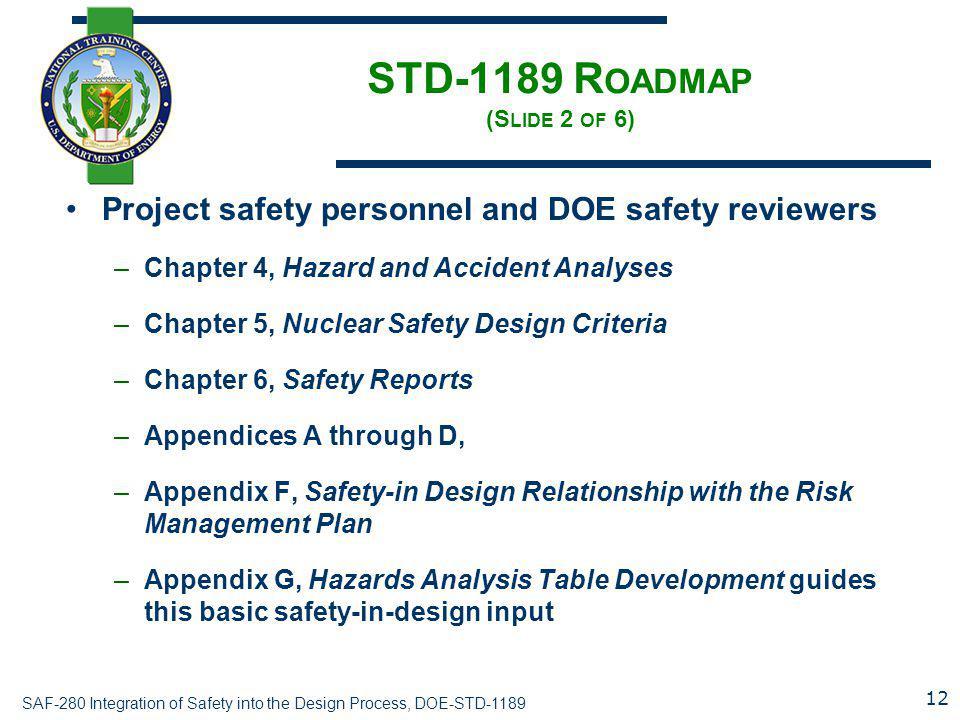 STD-1189 Roadmap (Slide 2 of 6)