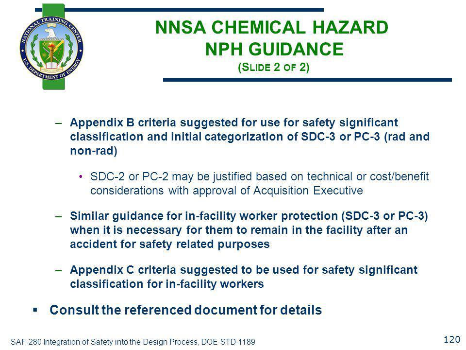 NNSA CHEMICAL HAZARD NPH GUIDANCE (Slide 2 of 2)