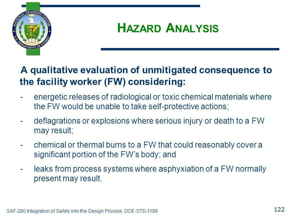 Hazard Analysis A qualitative evaluation of unmitigated consequence to the facility worker (FW) considering: