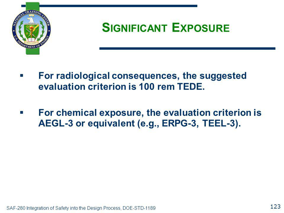 Significant Exposure For radiological consequences, the suggested evaluation criterion is 100 rem TEDE.