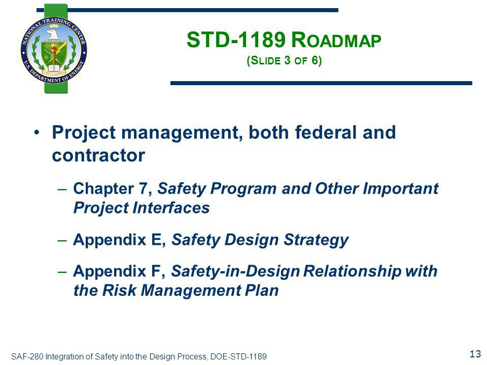 STD-1189 Roadmap (Slide 3 of 6)