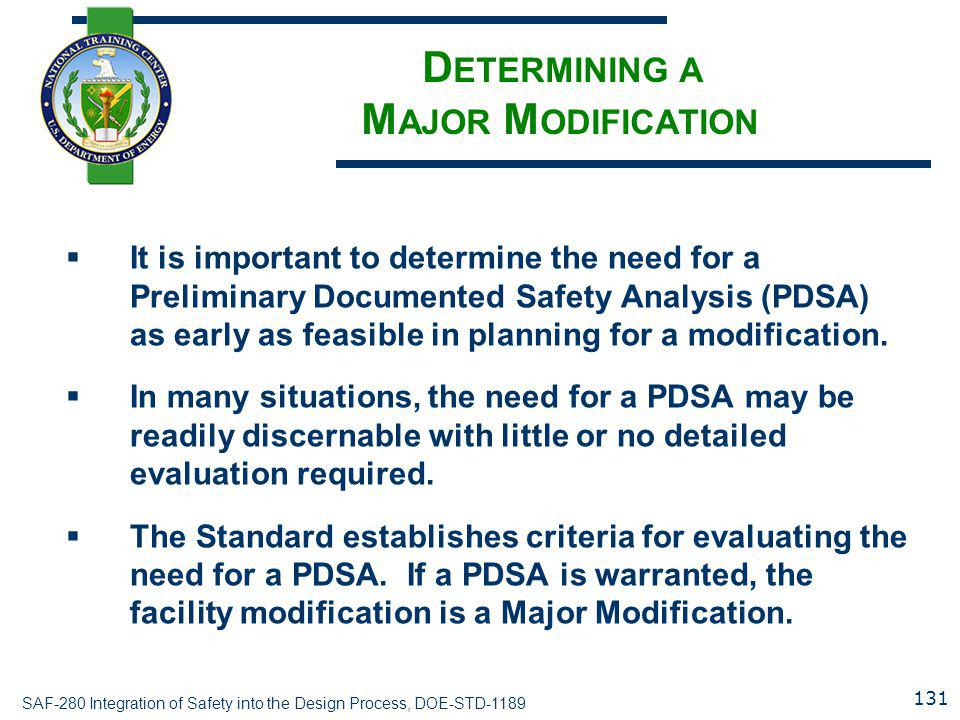 Determining a Major Modification