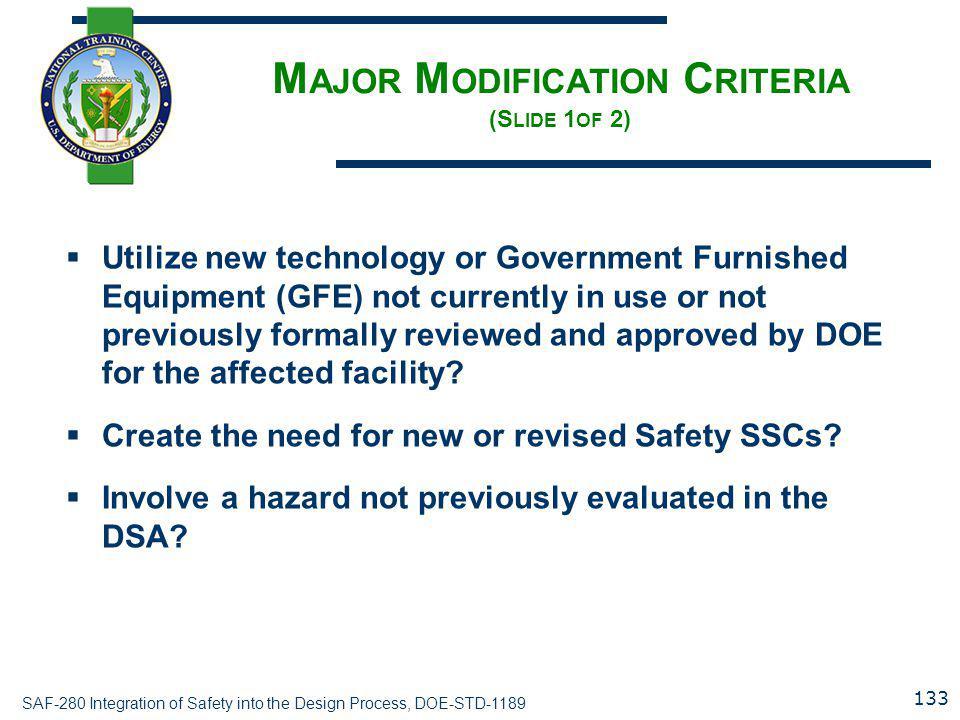 Major Modification Criteria (Slide 1of 2)