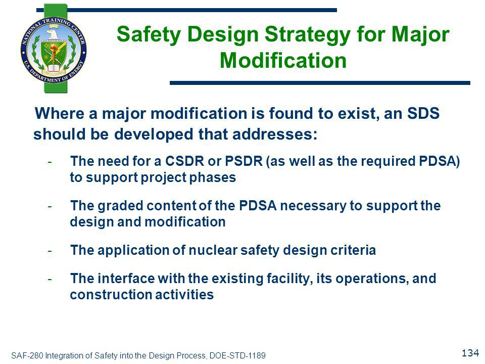 Safety Design Strategy for Major Modification