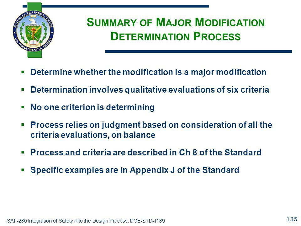 Summary of Major Modification Determination Process
