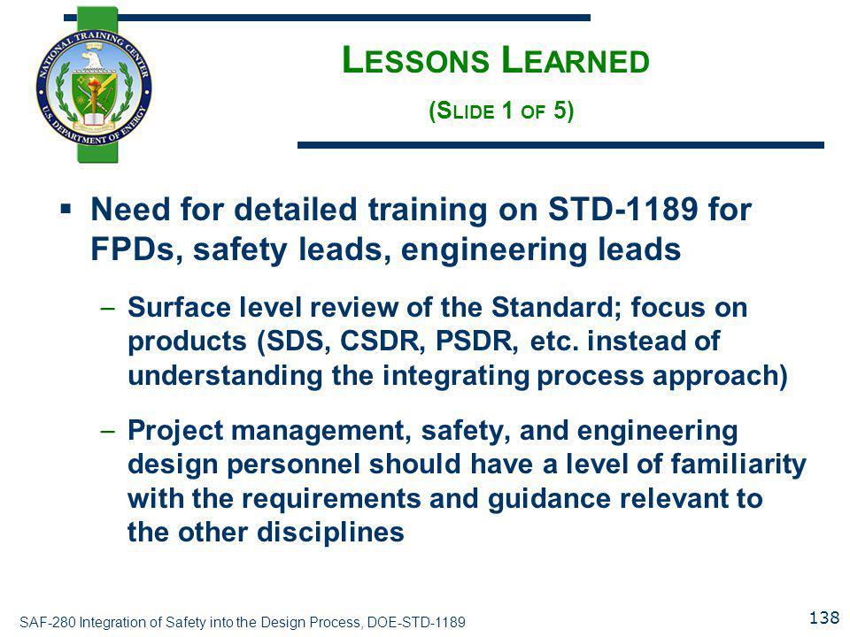 Lessons Learned (Slide 1 of 5)