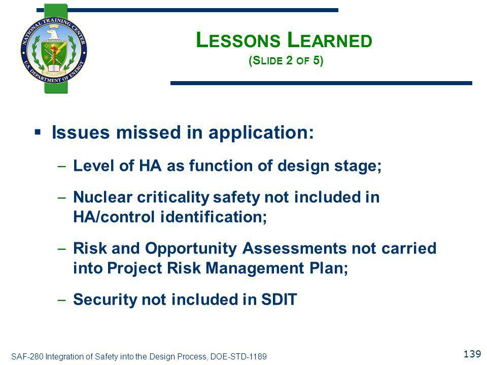 Lessons Learned (Slide 2 of 5)