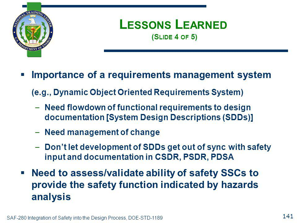 Lessons Learned (Slide 4 of 5)