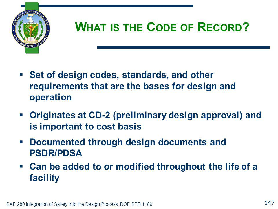 What is the Code of Record