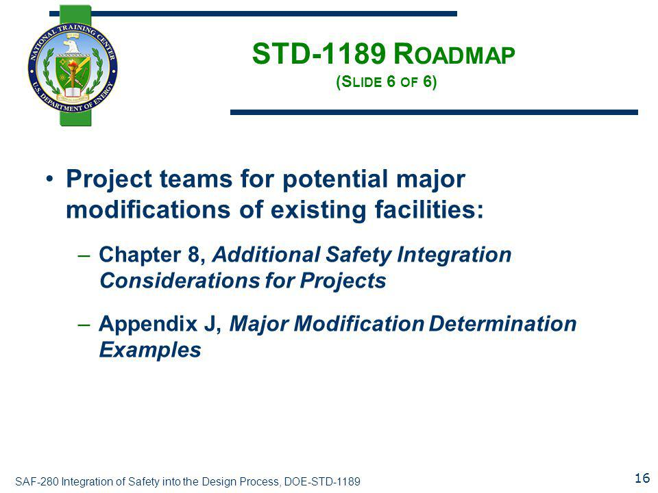 STD-1189 Roadmap (Slide 6 of 6)