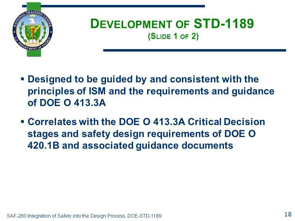 Development of STD-1189 (Slide 1 of 2)
