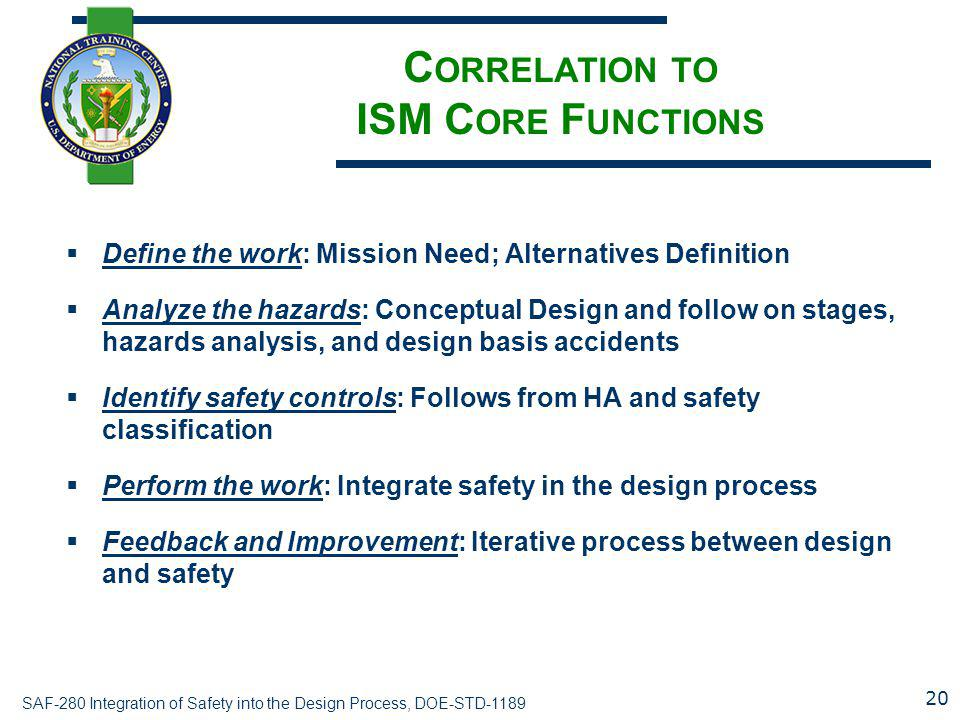 Correlation to ISM Core Functions