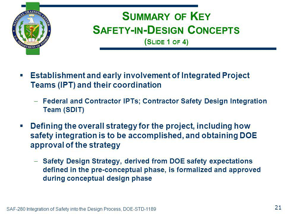 Summary of Key Safety-in-Design Concepts (Slide 1 of 4)