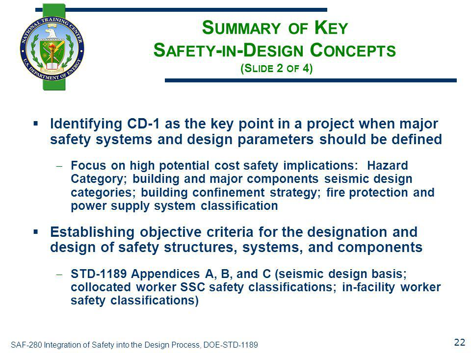 Summary of Key Safety-in-Design Concepts (Slide 2 of 4)