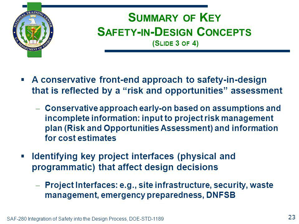 Summary of Key Safety-in-Design Concepts (Slide 3 of 4)
