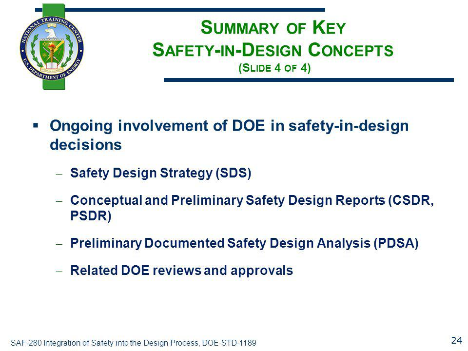 Summary of Key Safety-in-Design Concepts (Slide 4 of 4)