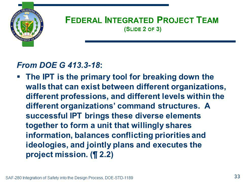 Federal Integrated Project Team (Slide 2 of 3)