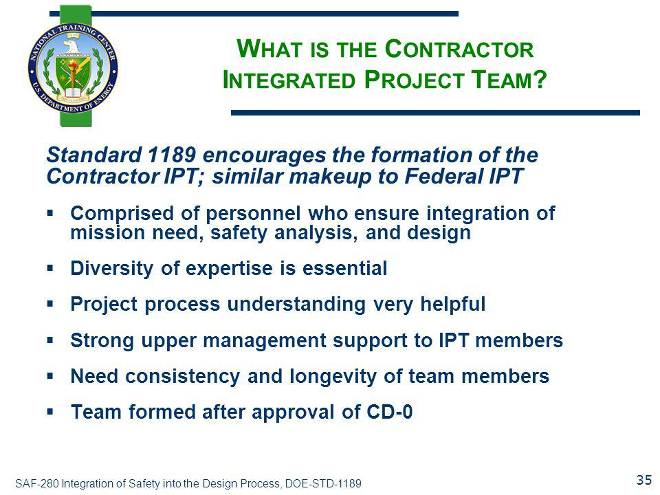 What is the Contractor Integrated Project Team