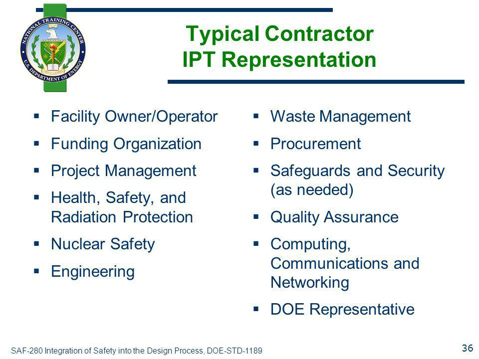 Typical Contractor IPT Representation