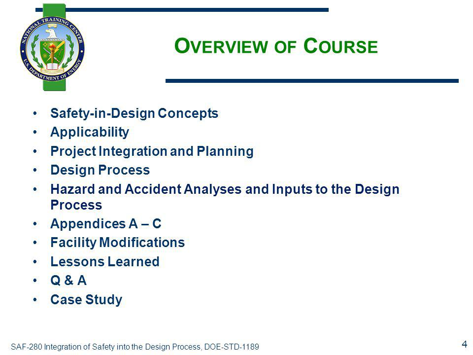 Overview of Course Safety-in-Design Concepts Applicability