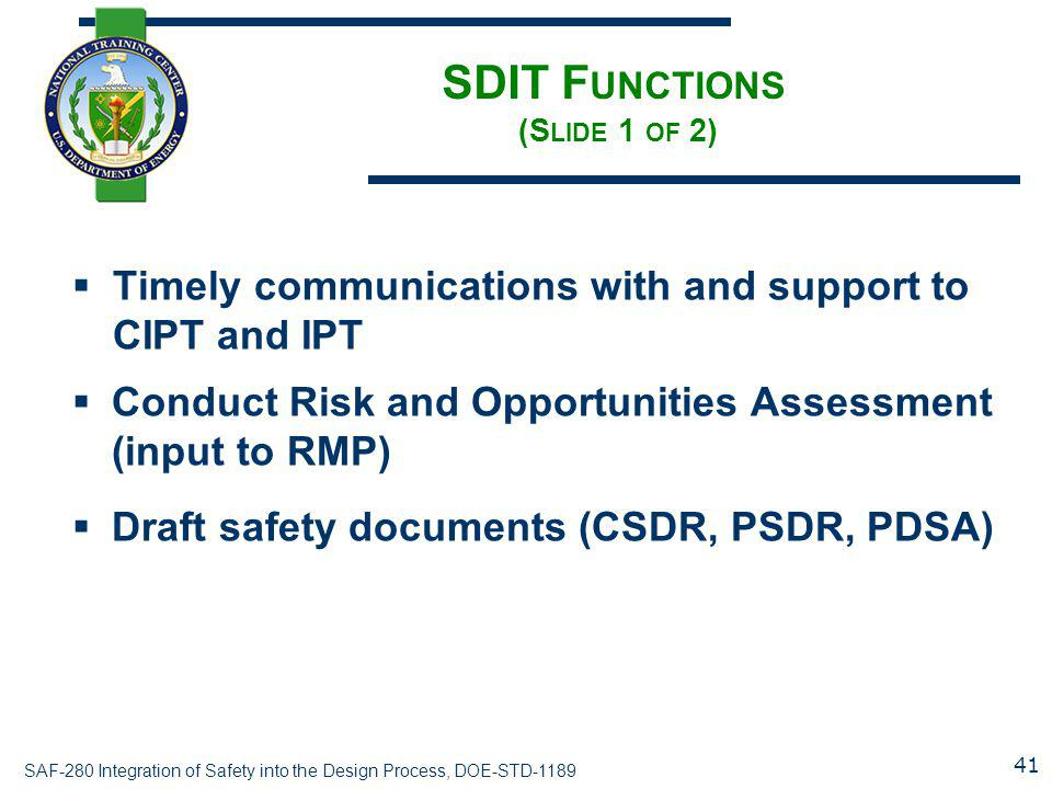 SDIT Functions (Slide 1 of 2)