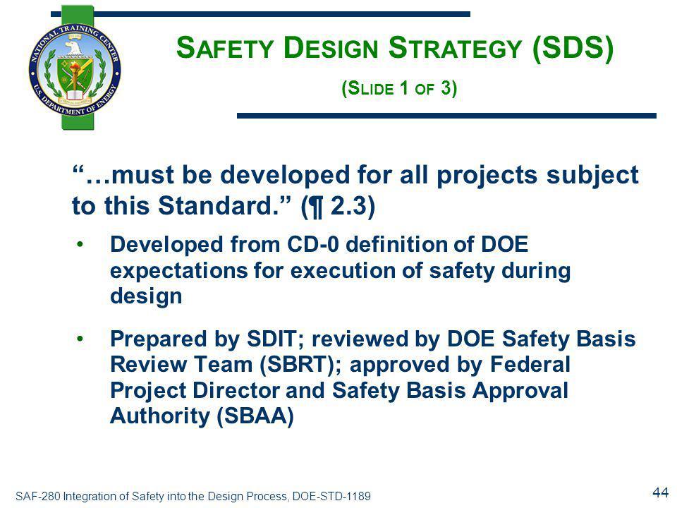 Safety Design Strategy (SDS) (Slide 1 of 3)