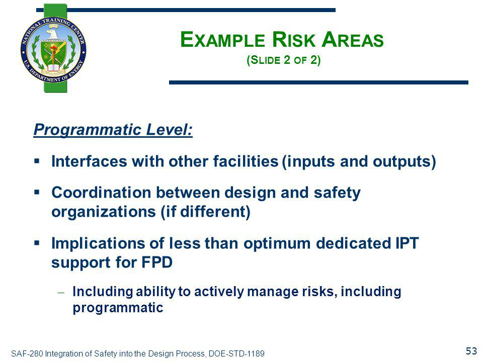 Example Risk Areas (Slide 2 of 2)