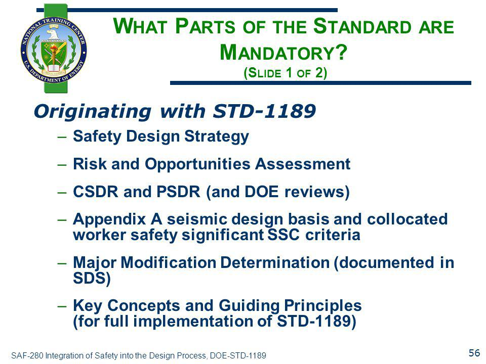 What Parts of the Standard are Mandatory (Slide 1 of 2)