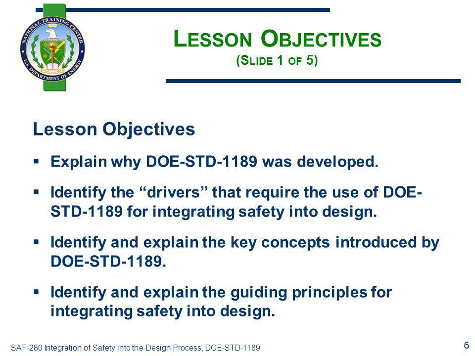 Lesson Objectives (Slide 1 of 5)