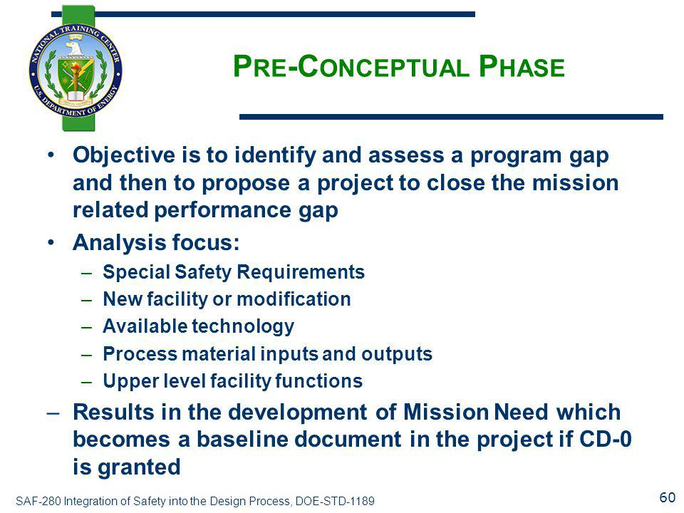 Pre-Conceptual Phase Objective is to identify and assess a program gap and then to propose a project to close the mission related performance gap.