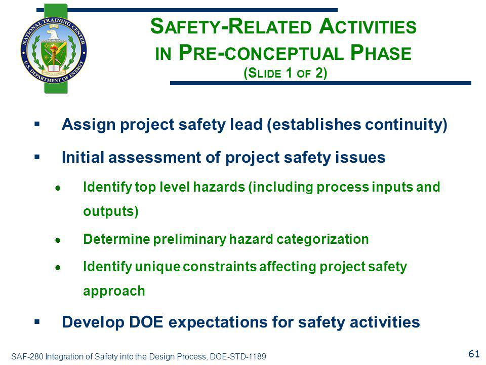 Safety-Related Activities in Pre-conceptual Phase (Slide 1 of 2)