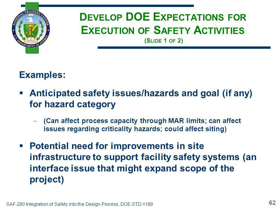 Develop DOE Expectations for Execution of Safety Activities (Slide 1 of 2)