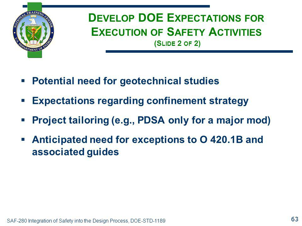 Develop DOE Expectations for Execution of Safety Activities (Slide 2 of 2)