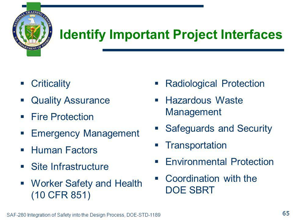 Identify Important Project Interfaces
