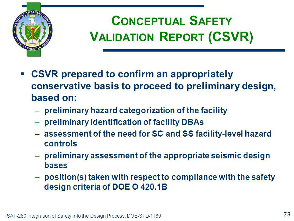 Conceptual Safety Validation Report (CSVR)