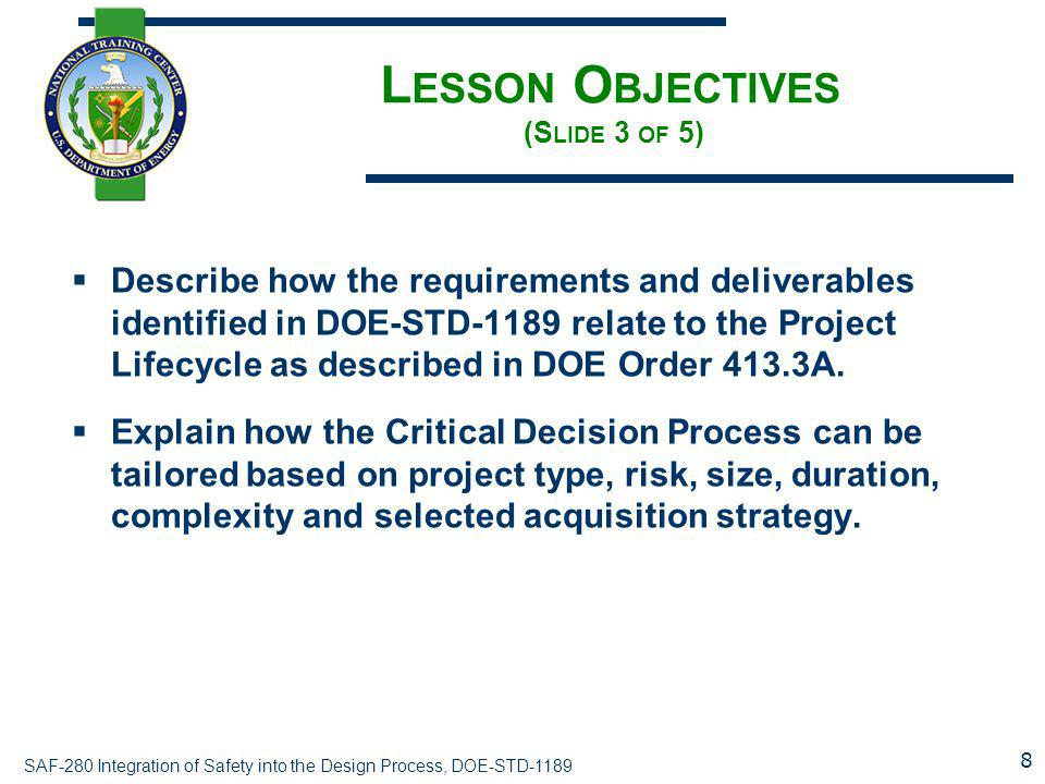 Lesson Objectives (Slide 3 of 5)