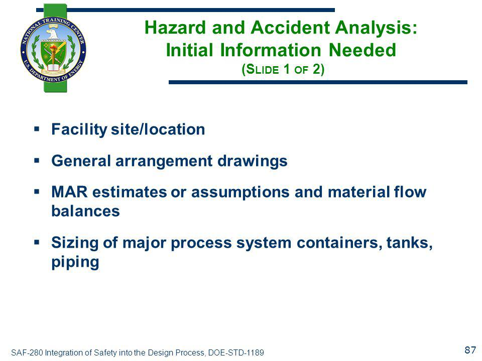 Hazard and Accident Analysis: Initial Information Needed (Slide 1 of 2)