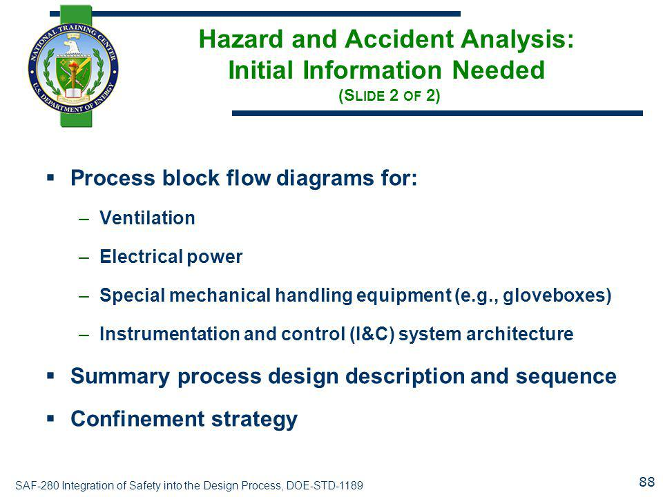 Hazard and Accident Analysis: Initial Information Needed (Slide 2 of 2)