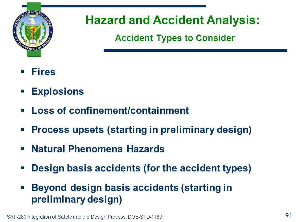 Hazard and Accident Analysis: Accident Types to Consider
