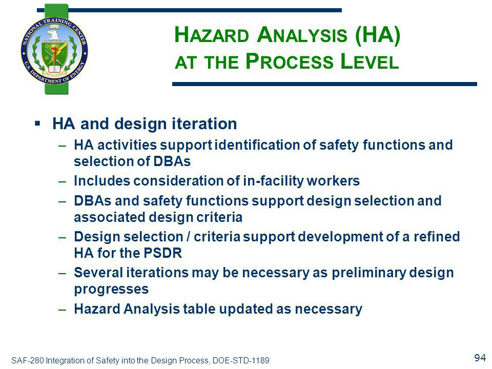 Hazard Analysis (HA) at the Process Level