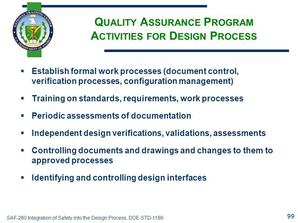 Quality Assurance Program Activities for Design Process