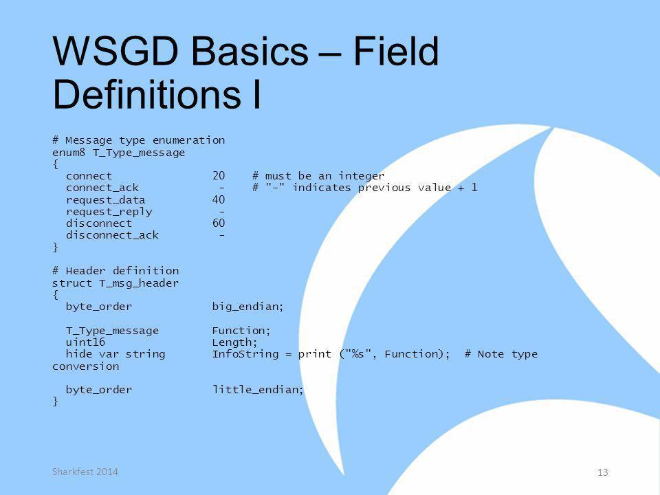 WSGD Basics – Field Definitions I