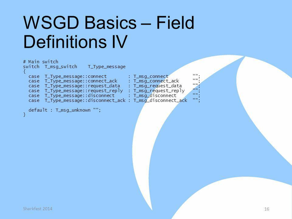 WSGD Basics – Field Definitions IV
