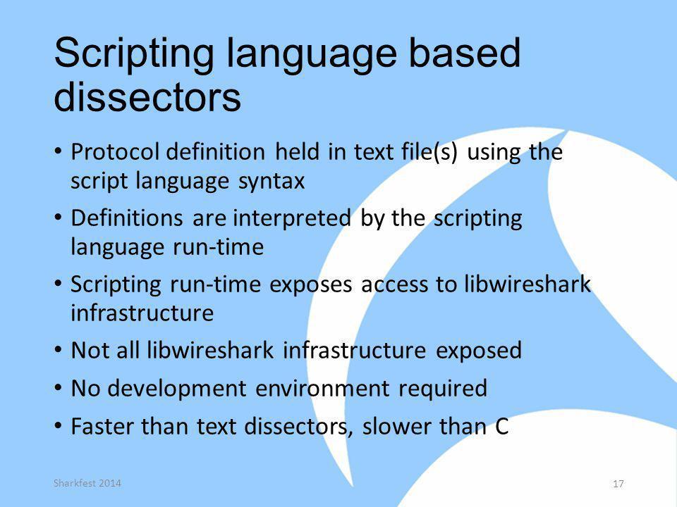 Scripting language based dissectors